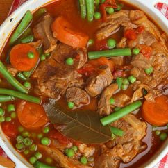 Navarin of lamb, French lamb stew slow-cooked on the bone.